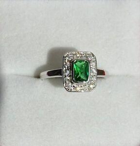 Dolly-Bijoux Bague Rhodié T62 Sertie Diamant Cz Ovale 15mm Argent Massif 925