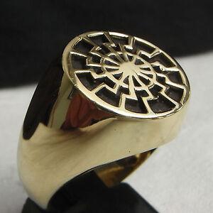 Black-Sun-Mandala-Ring-Sonnenrad-German-Pagan-Mystical-Sunwheel-Bronze-Biker