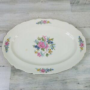 Vintage Canonsburg Pottery Indian Rose Floral Flowers Large Serving Platter HTF