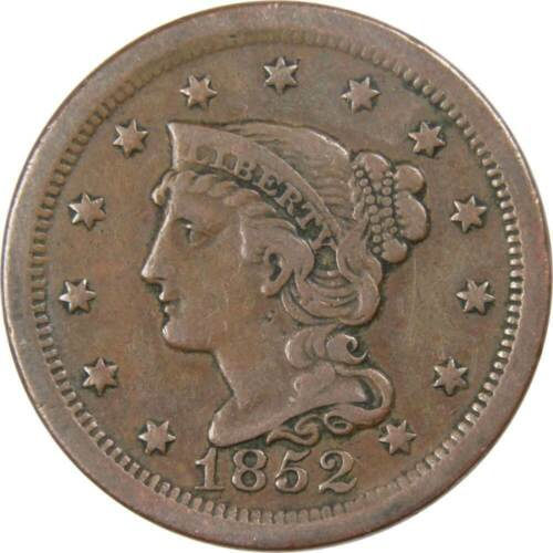 1852 1c Braided Hair Large Cent Penny F Fine