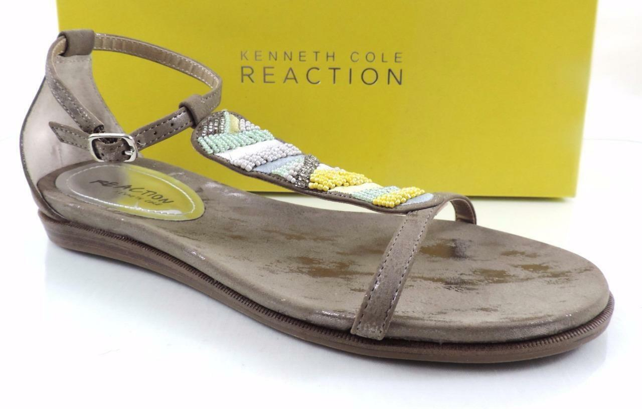 Womens Kenneth Cole Reaction Bon Net T3 Beaded T-Strap Sandals Taupe Size 8.5