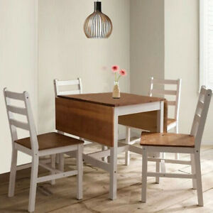 Dropleaf-Dining-Table-and-4-Chairs-Solid-Wood-Dining-Set-Kitchen-Furniture-White