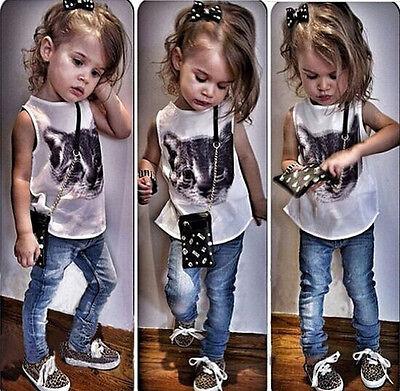 2Pcs Baby Girls Dress Cat Print T-shirt + Denim Pants Set Kids Clothes Outfits