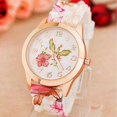 Fashion Womens Wrist Watch Flower Rose Silicone Casual Girl Watch Wholesale