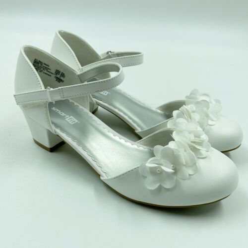 Smartfit Toddler Girls Cici Dress Shoes White Floral Kitten Heel Ankle Strap NEW