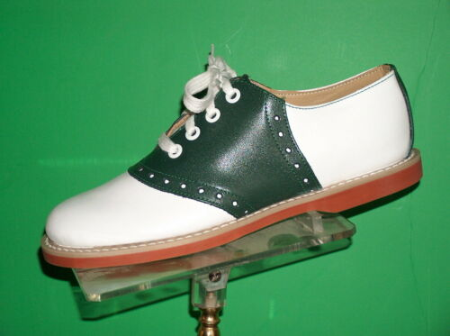 1930s Style Shoes – Art Deco Shoes    GREEN/ white Classic Leather Saddle Shoes most womens sizes 5-12 $89.00 AT vintagedancer.com