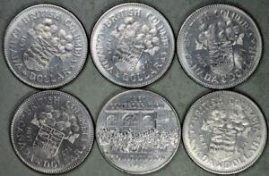 Canada 1971 British Columbia & 1982 Confederation 1 Dollar Nickel Lot of 6 Coins