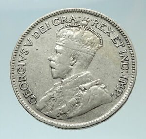 1929-CANADA-UK-King-George-V-Genuine-Original-SILVER-25-CENTS-Coin-i76503