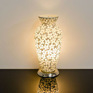 Mosaic Glass Vase Lamp Opaque Flower Design