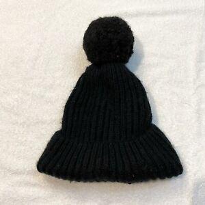 Zara Black Thick Cable Rib Knit Pom Pom Pull On Beanie Winter Fashion Hat Womens