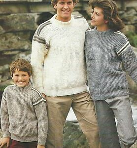 Family-Aran-Easy-Knit-Sweater-Knitting-Pattern-24-44-034-Girls-Boys-Men-Women-830