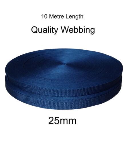 25mm Black Belt Textured Weave Webbing Belting Bag Strap Tape x 2 meters