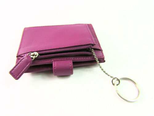 Womens Mens Premium Real Leather Credit Card Holder Coin Purse Wallet Key Chain