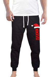 787173b5476e5 Details about Men's Santa Hat Christmas Jogger pants sweatpants Fitted  Holiday Xmas Party V630