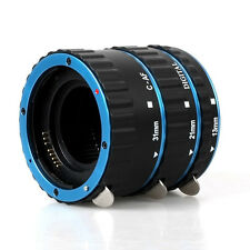 Blue Metal Auto Focus AF Macro Extension Tube/Ring for Kenko CANON EF-S Lens
