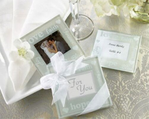 72 72 72 Good Wishes Pearlized Glass Photo Coasters Gift Set Wedding Favors 2-pk 4b0bec