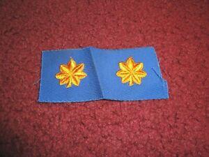 "2 MAJ Major Oak Leaf GOLD on MIDNIGHT rank insignia collar//lapel patches 1.25/"""