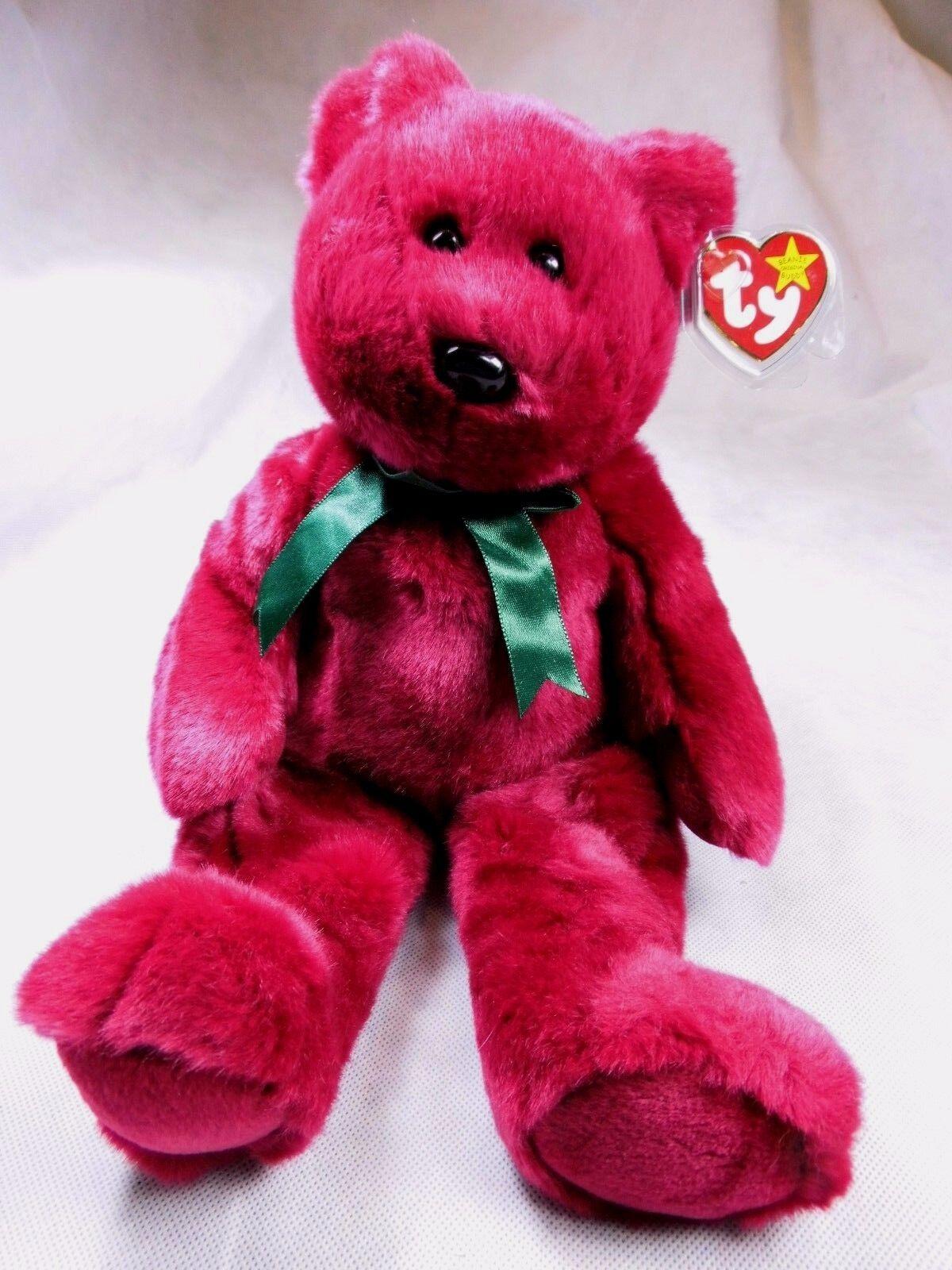 TY Beanie Buddies Buddy TEDDY von 1998 Bär Teddybär rot LIMITED 34 cm NEU
