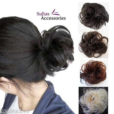 Angemessen Head Hair Piece Scrunchie Bun Extension Synthetic Fake Ladies Girls Scrunchy Hell Und Durchscheinend Im Aussehen