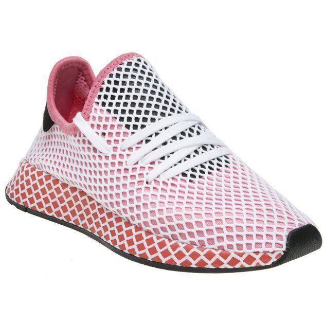 NUOVA linea donna Adidas rosa deerupt Runner Nylon Scarpe da ginnastica running lacci stile