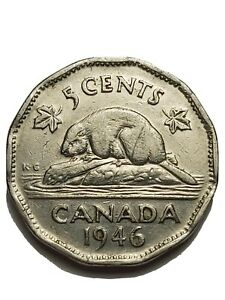 Canada-1946-6-6-Nickel-5-cents-1946-6-6-Canadian-Nickel-Error