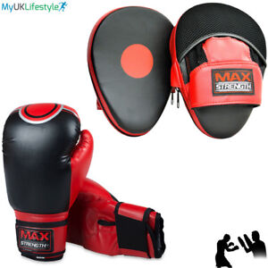 Gel Focus Pads Boxing Gloves and Hook Jab Pad Set Punch Mitts Bags MMA Training