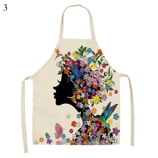 Cotton Linen Flower Butterfly For Women Kitchen Cooking Pinafore Baking Aprons