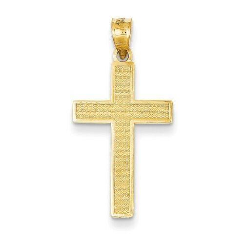 14K SOLID YELLOW GOLD TEXTURED LATIN CROSS CHARM  PENDANT  1.1 INCH LENGTH