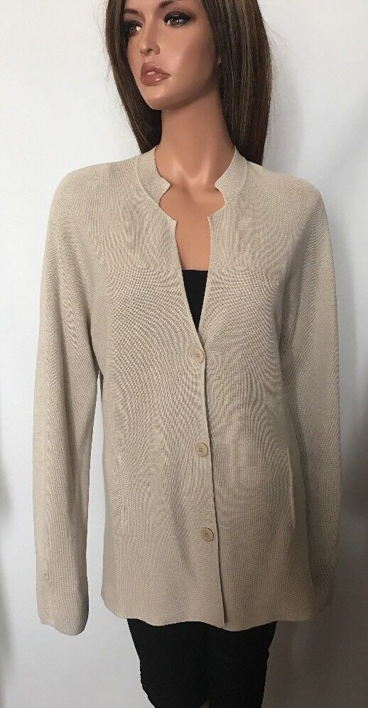 Eileen Fisher Beige Silk Cotton Blend Cardigan Sweater, Größe L