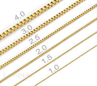 Mens Womens Vacuum Ion Plating 316 Stainless Steel Box Chain Necklace Gold Chain