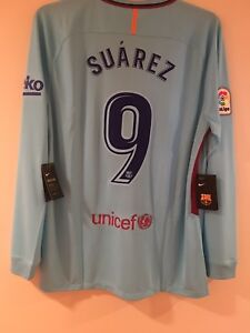 f38c035dd6c Nike FC Barcelona 17 18 Away L S Suarez 9 Jersey Sz XL NWT Authentic ...