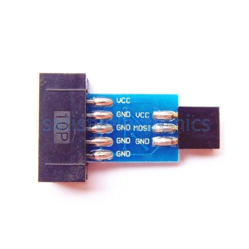 10Pin Convert to Standard 6 Pin Adapter Board+USBASP USBISP AVR Programmer USB F