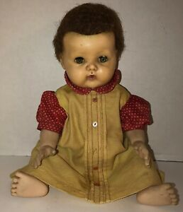 VTG-50s-60s-TINY-TEARS-Doll-American-Character-2675644-Yellow-Red-Dress-SQUEAKS