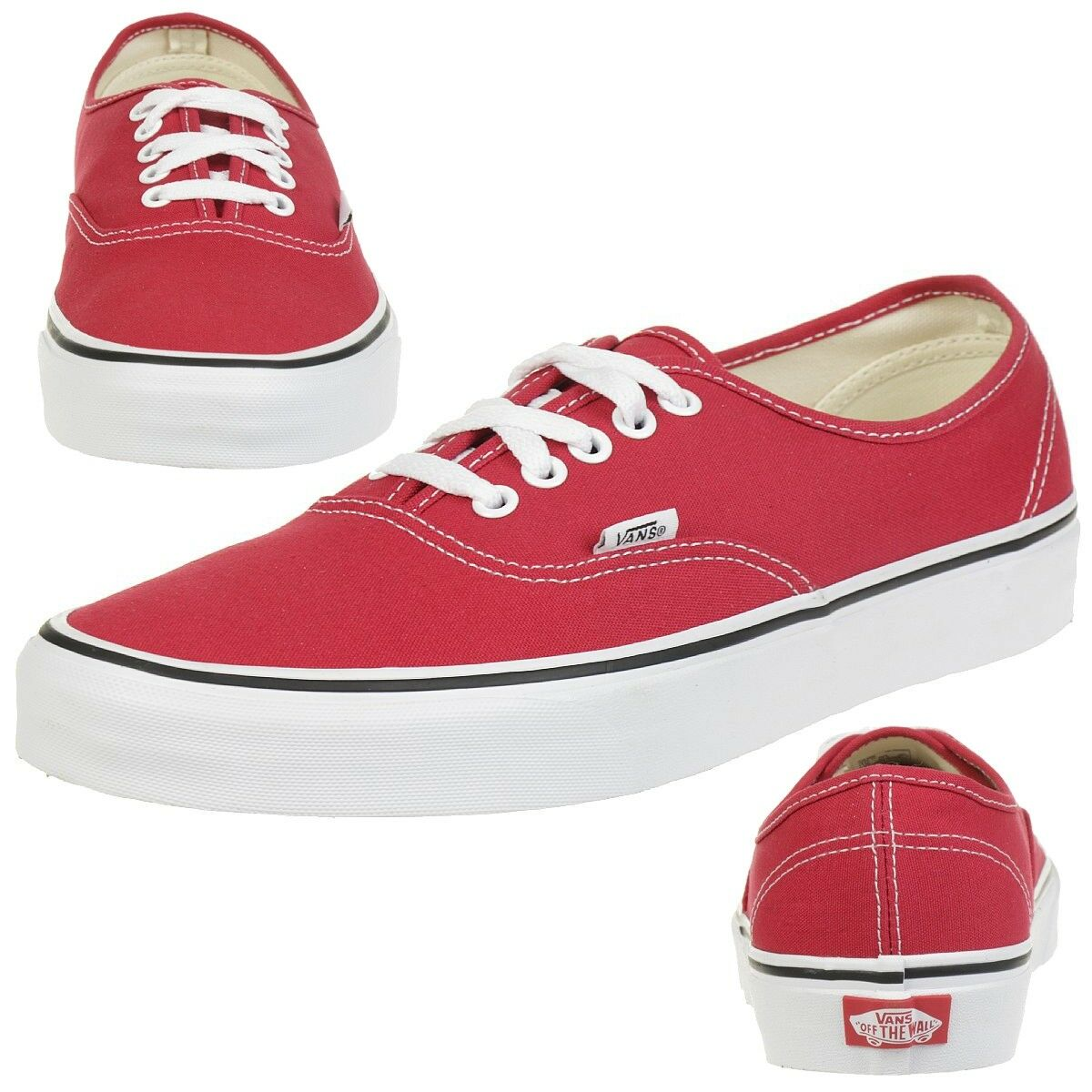Vans Unisex-Erwachsene Authentic Sneaker, Rot (Crimson/True White)