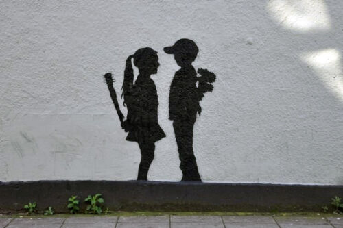 QUALITY BANKSY ART PHOTO PRINT BOY AND GIRL NOT CANVAS