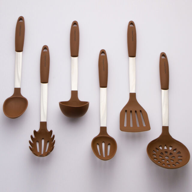 Brown Cooking Utensil Set   Stainless Steel U0026 Silicone Heat Resistant  Kitchen