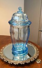 """Vintage Indiana Glass Large  Size Clear BLUE Canister Apothecary Counter Jar 12"""""""