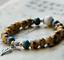 Ceramic-Bead-Silver-Leaf-Charm-Elastic-Bracelet thumbnail 5
