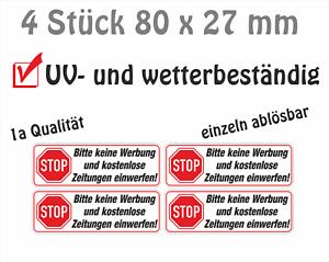 Details Zu 4 X Briefkasten Aufkleber Postkasten Aufkleber Stop Bitte Keine Werbung Und
