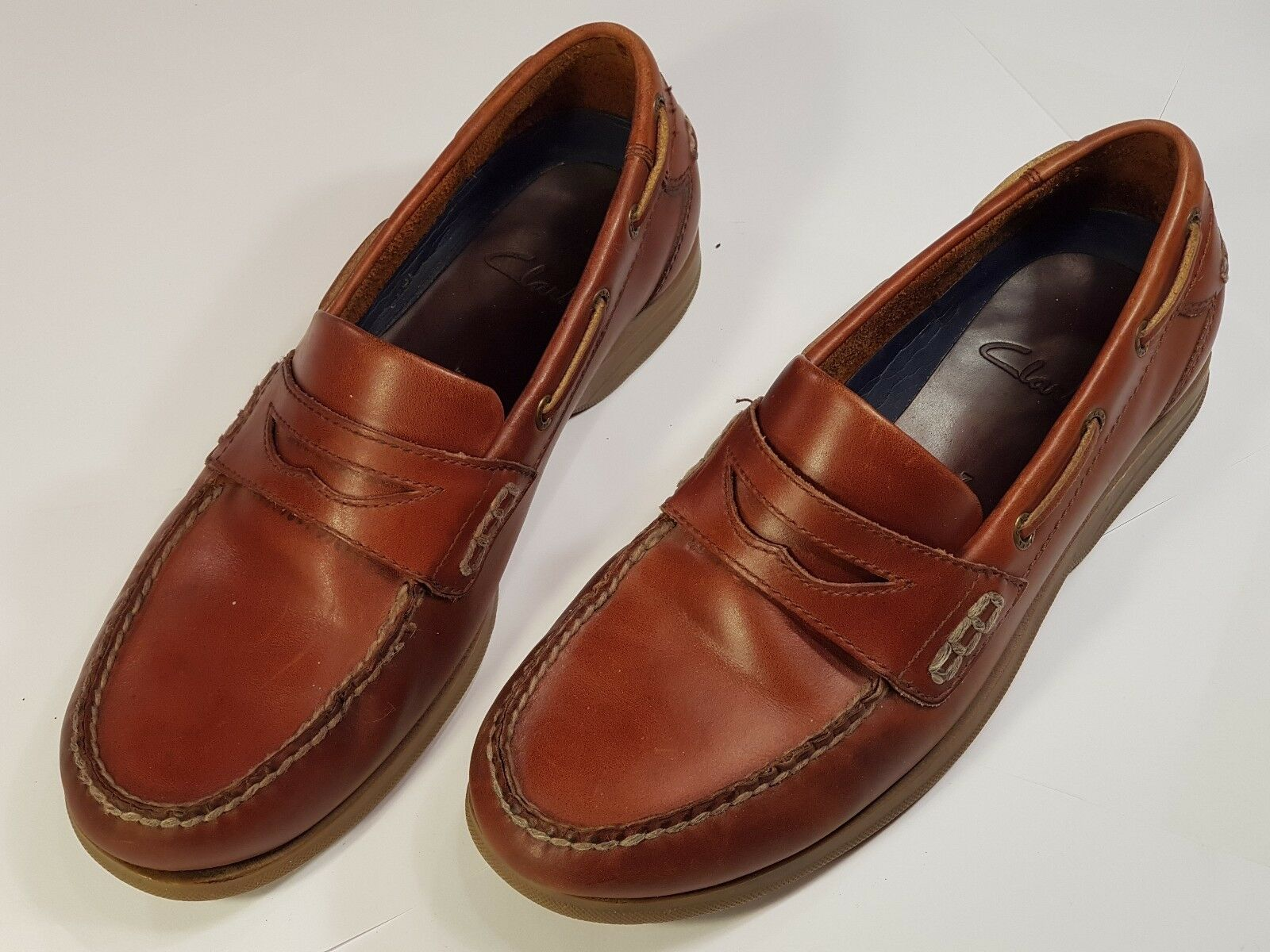 Clarks Leather Deck shoes - Brown - Slip On Leather Uppers Size 7G - Pre-worn