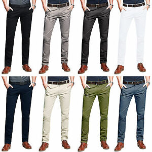 Mens-Chino-Trousers-Stretch-Skinny-Slim-Fit-Stallion-Jeans-Designer-Stallion-New