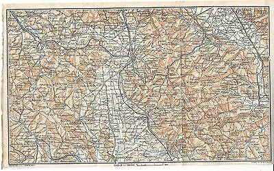 Cortona Cartina Geografica.Carta Geografica Antica Arezzo Valdarno Cortona Tci 1923 Old