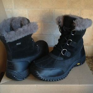b4b15c7ee95 Details about UGG Ostrander Black Waterproof Leather Short Rain Snow Boots  Size US 11 Women