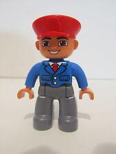 Lego Duplo Airport Airplane Pilot People Figure Man Captain    NEW