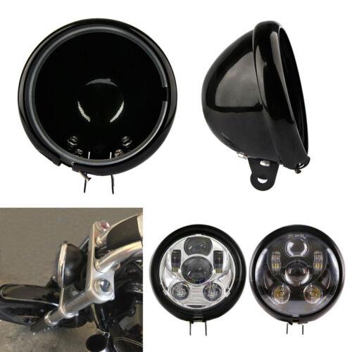"""Black 5.75/"""" LED Headlight Housing Cover Bucket Aluminum For Sportster XL1200 883"""