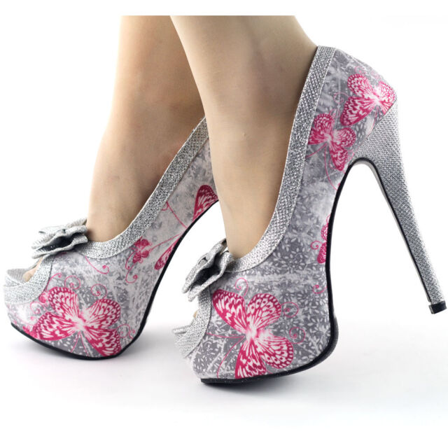 Glam Silver Butterfly Print Bow Platform Club Evening Pump Size 3/4/5/6/7/7.5/8