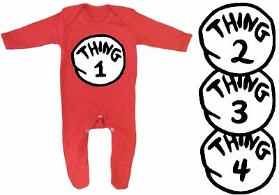ce94325617e DR Seuss Cat in the Hat Thing logo costume Baby Grow Romper Sleep Suit Vest    eBay