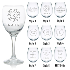 Personalised Wine Glass 🍷 Laser Engraved Your Own Message Design Birthday 18 21