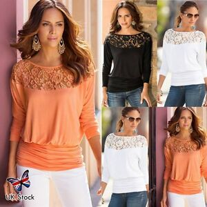 Women-Long-Sleeve-Lace-T-Shirt-Blouse-Ladies-Fashion-Casual-Loose-Tops-Shirt-Tee