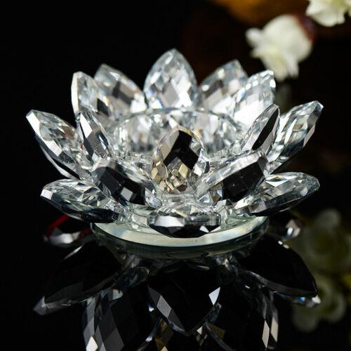 Bunte Kristallglas Lotus Blume Kerze Teelichthalter Kerzenleuchter Deocr